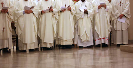 religious habit: many priest with the white cassock during the religious celebration