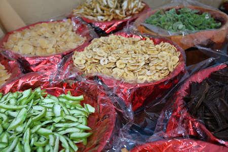market gardener: assorted dried fruit baskets for sale in the market gardener