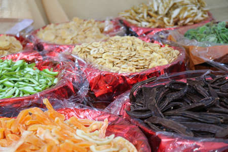 assorted dried fruit baskets for sale in the market gardener