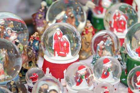 nativity scene: Christmas balls with water inside and Nativity Scene as Christmas decoration Stock Photo