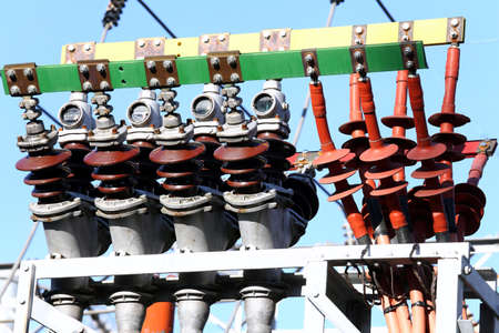 electrics: huge electrical copper terminals of a power plant outdoor Stock Photo