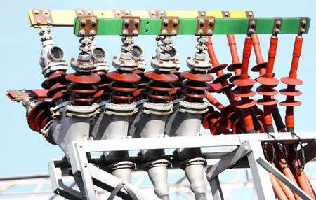 electrics: big electrical copper terminals of a power plant to produce electricity Stock Photo
