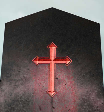 the emblematic Red Cross on black plaque of hell