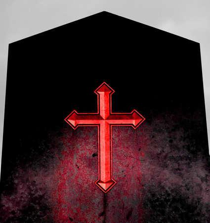 red cross: enorme de la Cruz Roja en la l�pida negro del infierno Foto de archivo