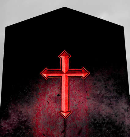 satanism: huge  Red Cross on black gravestone of hell Stock Photo