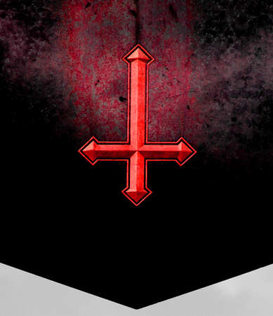 diverted: Red inverted cross engraved on a tomb of the Devils Hell Stock Photo