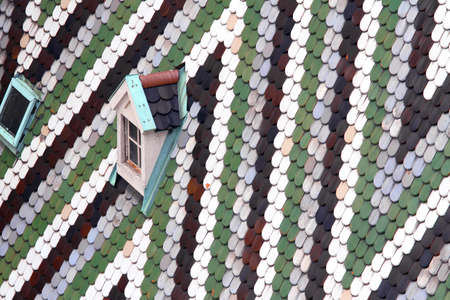 majolica: Roof with tiles in majolica and ceramics of the Cathedral of St. Stephen in the Centre of Vienna in austria
