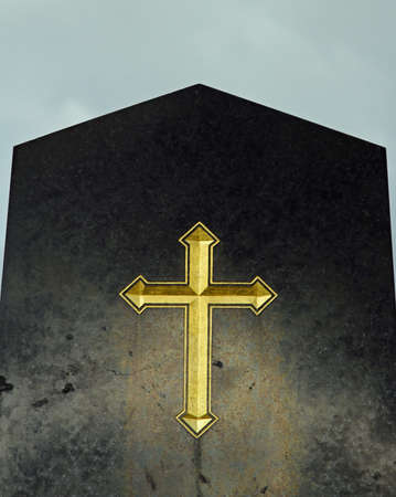 diverted: big Golden cross engraved on a tomb in the old cemetery