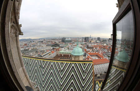 saint stephen cathedral: Incredible view of the city from the Bell Tower of the Cathedral of St. Stephen in Vienna in austria