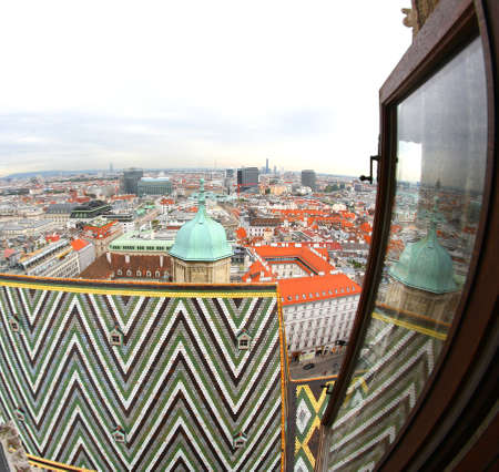 saint stephen cathedral: Incredible view of the city from the Cathedral of St. Stephen in Vienna