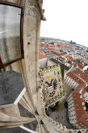 demografia: Incre�ble vista de la ciudad desde la torre campanario de la Catedral de San Esteban en Viena