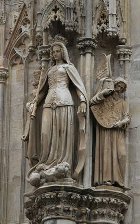 saint stephen cathedral: detail of the statue on the St. Stephens Cathedral in  vienna Stock Photo
