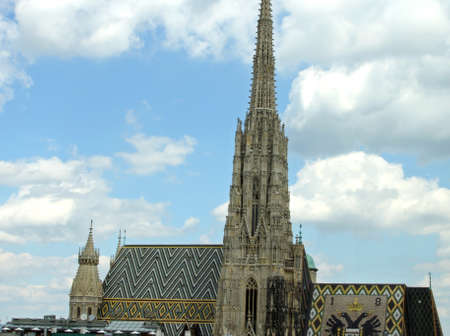 saint stephen cathedral: high Bell Tower of St. Stephens Cathedral in Vienna, austria, Europe Stock Photo
