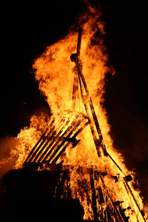 incendiary: flames of fire during a scary fire of a dwelling Stock Photo