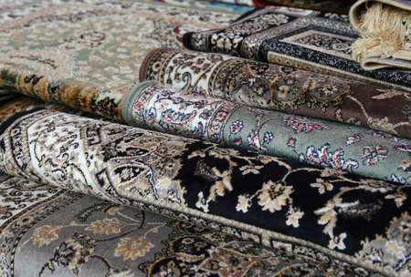 carpet: oriental carpets for sale in the shop of rugs Stock Photo