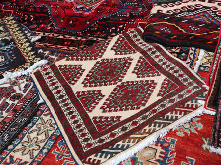 prayer rug: Oriental rugs Handmade wool for sale in the shop of fine rugs Stock Photo