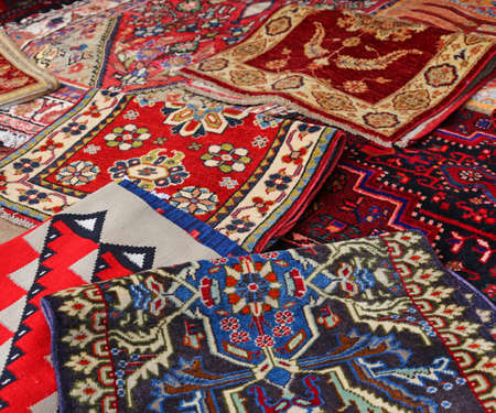 afghan: Oriental rugs Handmade wool for sale in the shop of fine rugs Stock Photo