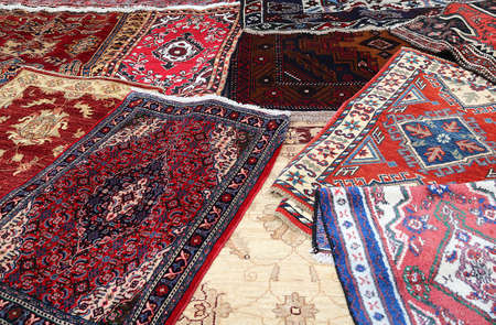 prayer rug: fine Oriental rugs Handmade wool for sale in the shop Stock Photo