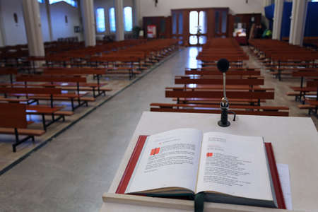 lectern: Holy Bible in the Christian Church the lectern without people