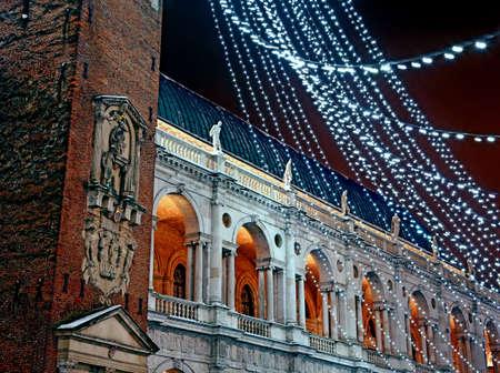 piazza dei signori with the Palladian basilica during a cold winter night
