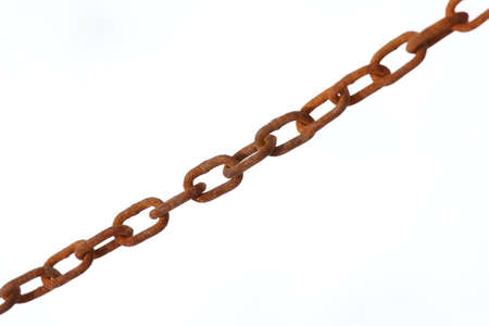 constrain: very old Rust chain on white background