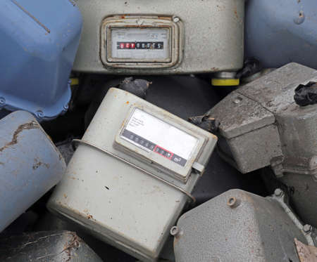 disused: old obsolete disused gas counters in a landfill of toxic waste special
