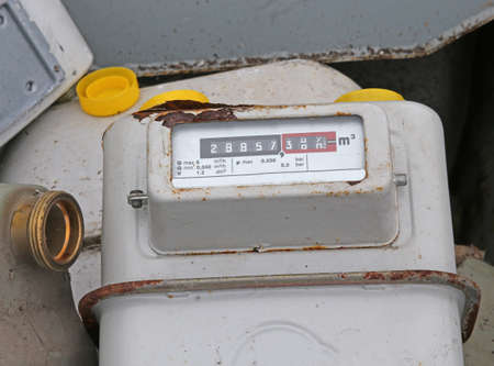 disused: old disused gas counters in a landfill of special waste