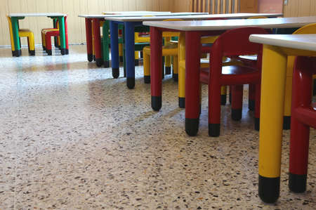 pedagogy: many chairs and tables of kindergarten without children
