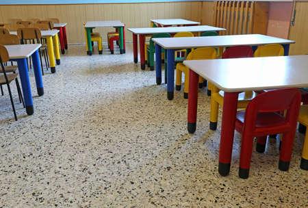 comedor escolar: gran comedor de la cantina vivero sin hijos Foto de archivo