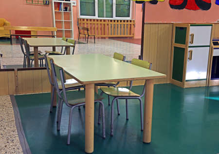 class room: table and chairs in the class room of the nursery with a big mirror on the wall