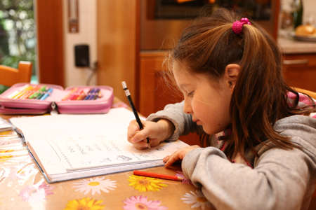 pretty little girl: pretty little girl writes on the notebook of schoolwork
