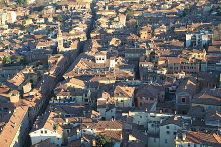 demographics: Fantastic panoramic views of the city of Bologna in italy  from the  highTower Stock Photo