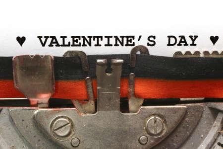 BIG written with the typewriter Valentines Day in black ink photo