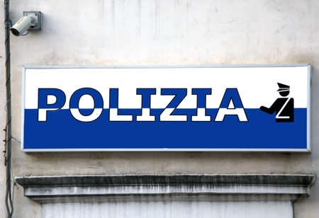 commissioner: large sign in Italian police station in an Italian town