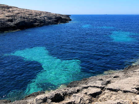 clearness: clean sea of the LAMPEDUSA island in Italy