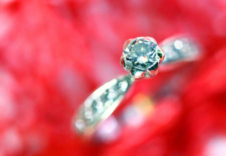 macro diamond ring in white gold and many little diamonds Stock Photo
