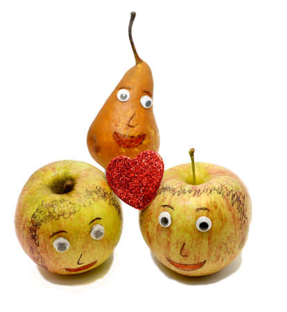 analogy: two big apples with a red heart and a PEAR with eyes