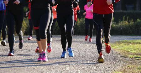 personas corriendo: las mujeres durante la carrera a campo traviesa en el parque p�blico Foto de archivo