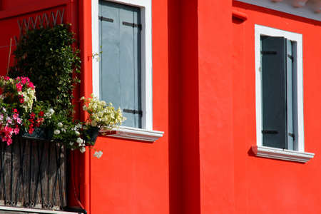 burano: Burano House with the Red Wall Stock Photo