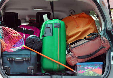 duffle: duffle bag and trolley with a fishing net in the trunk of the car departing