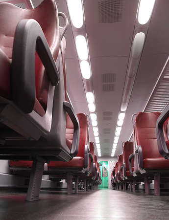 without people: train seat completely empty without people