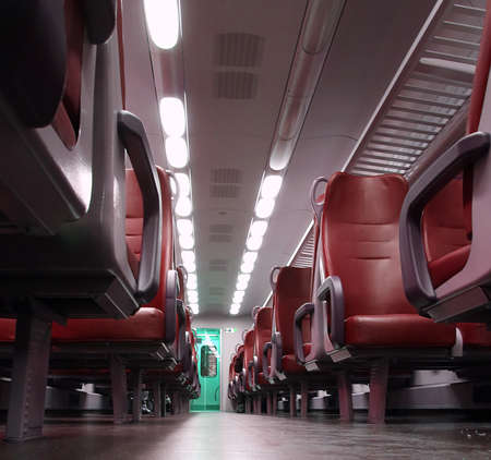 go inside: red train seat completely empty during the trip