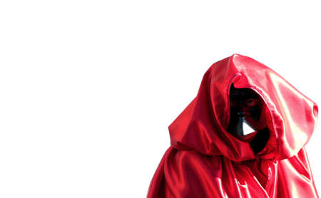carnevale: emblematic person dressed in black mask and red dress on white background