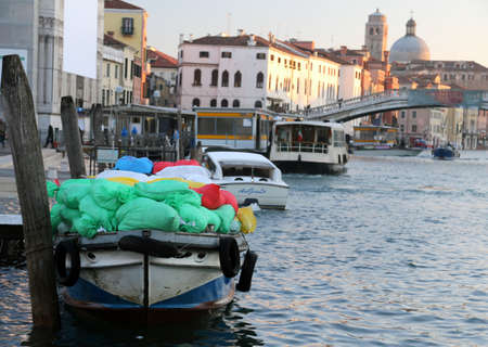 transporting: great boat for transporting goods into the grand Canal in Venice