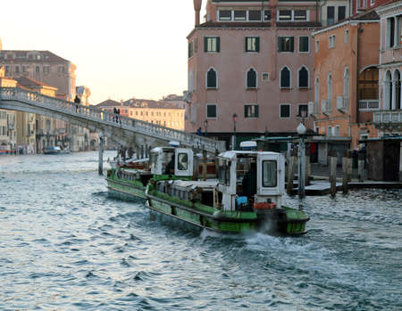 two boats for transporting goods into the navigable Canal in Venice Banco de Imagens