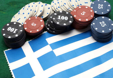 tokens: casino tokens for gambling over the flag of Greece
