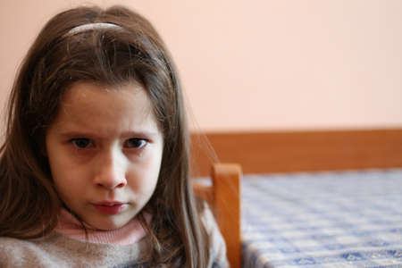 little girl with tear that has just finished crying Stock Photo