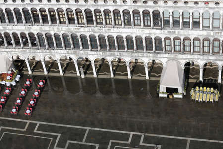 vecchie: Venetian style Windows in the historic palace in saint Mark Square in Venice Italy Stock Photo