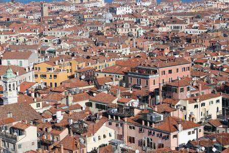 the campanile: Houses and Roofs of Venice ITALY from St Marks Campanile Stock Photo
