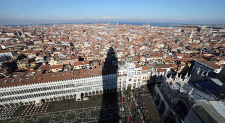 vecchie: Palace called Procuratie Vecchie and many houses in Venice Italy seen from the top of the bell tower
